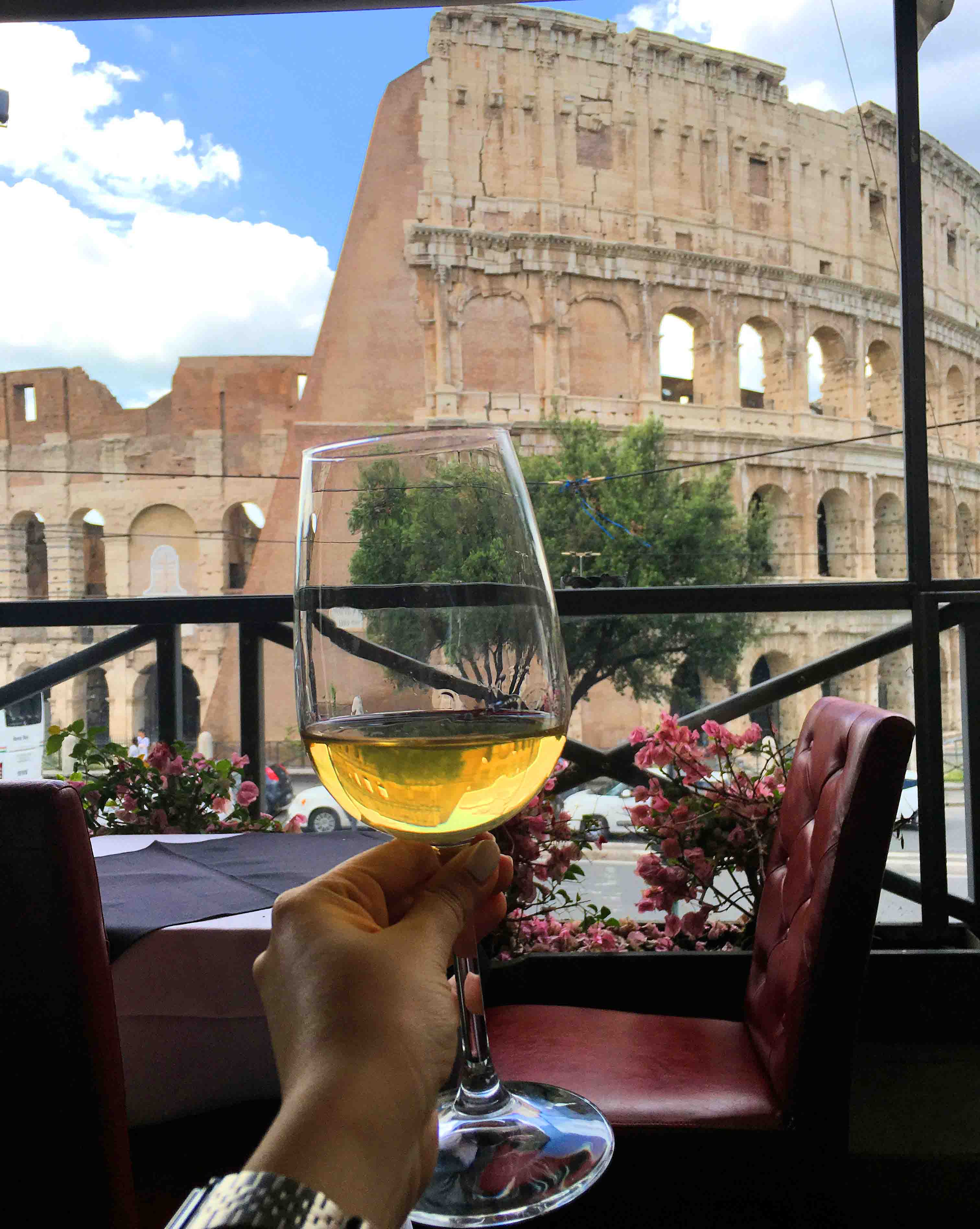 wine at colosseum