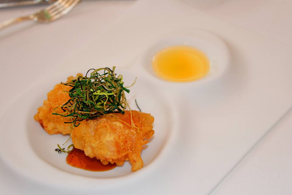 Zeppola Lobster sweet and sour with sour infused with citrus Don Alfonso 1890 Restaurant