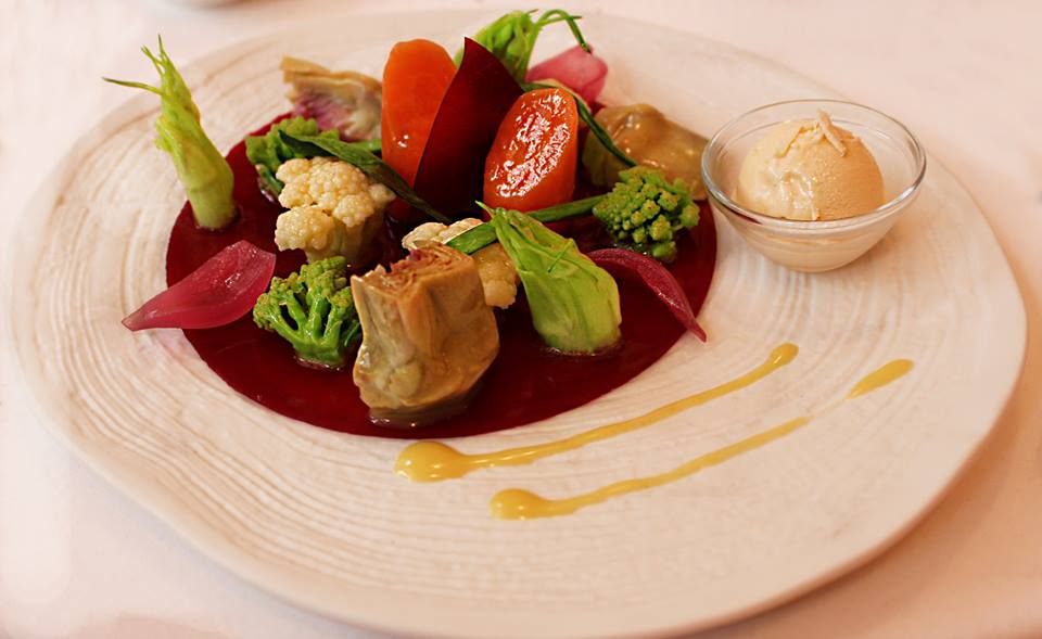 The orchard organic vegetables Campanella with horseradish ice cream Don Alfonso 1890 Restaurant